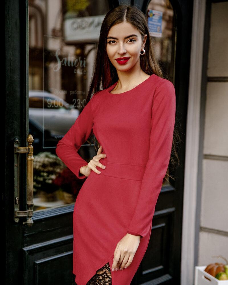 Красное платье с кружевом фото