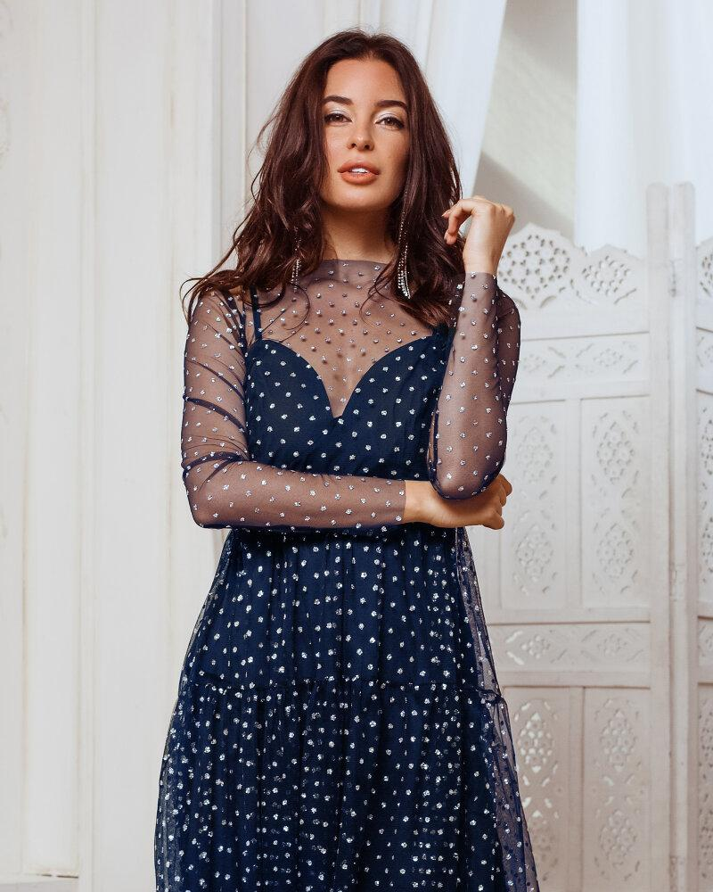 Вечернее платье-двойка синего цвета фото