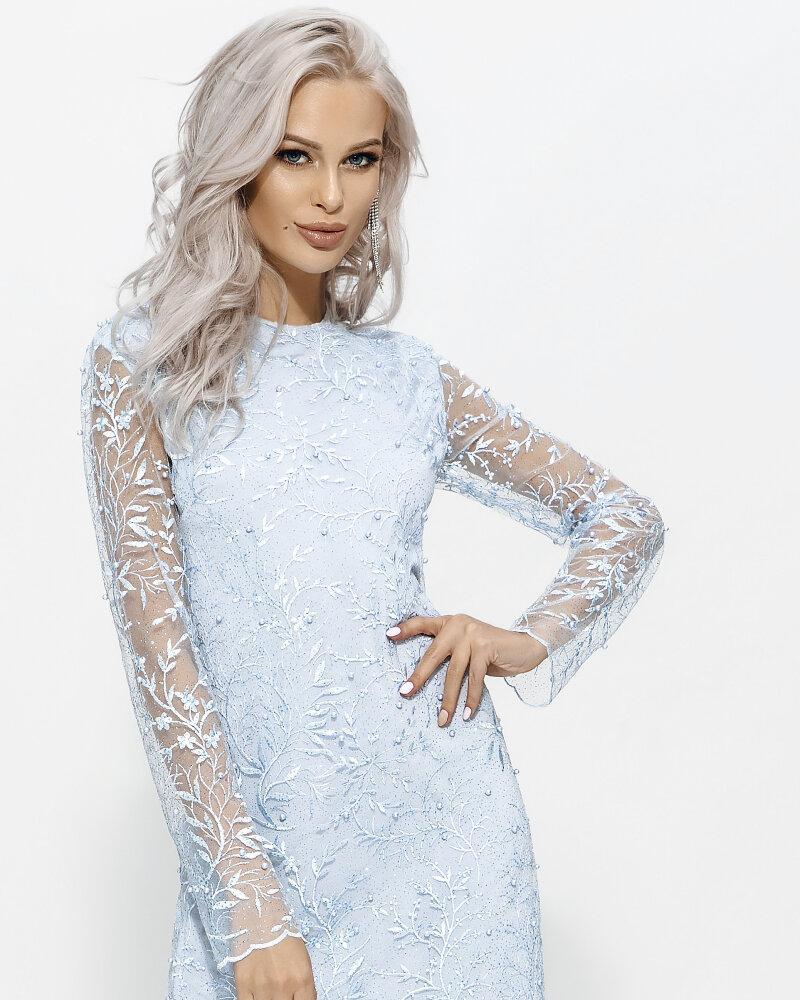 Голубое платье прямого кроя фото