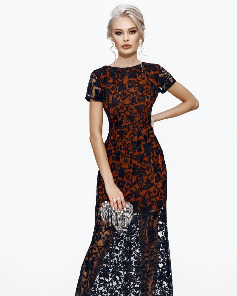 Длинное платье с контрастным кружевом фото