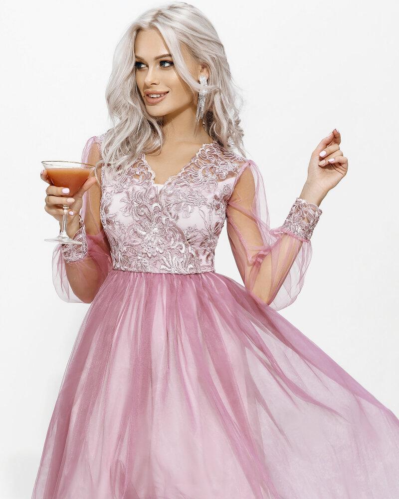 Нежно-розовое платье-мини фото