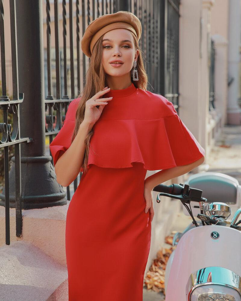 Яркое платье с воланом фото