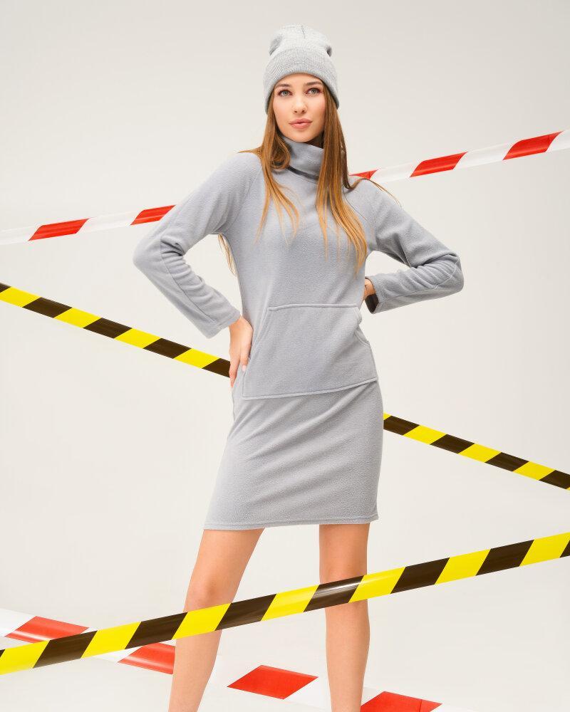 Утепленное серое платье фото