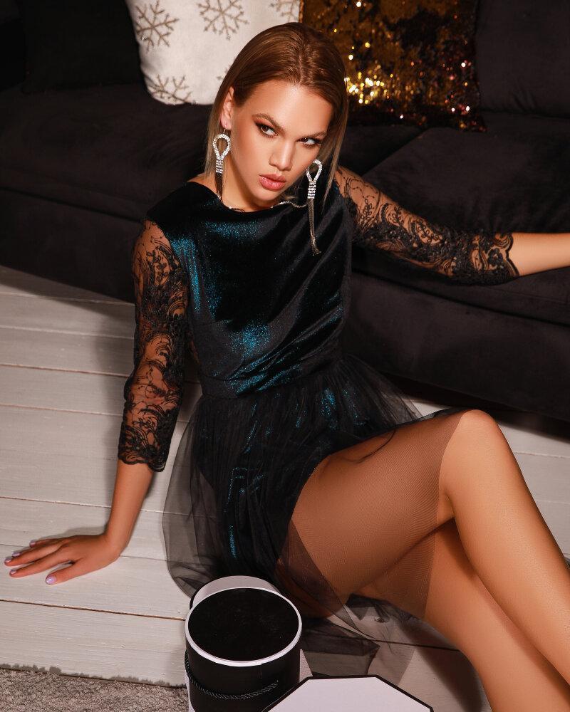 Платье с кружевными рукавами фото