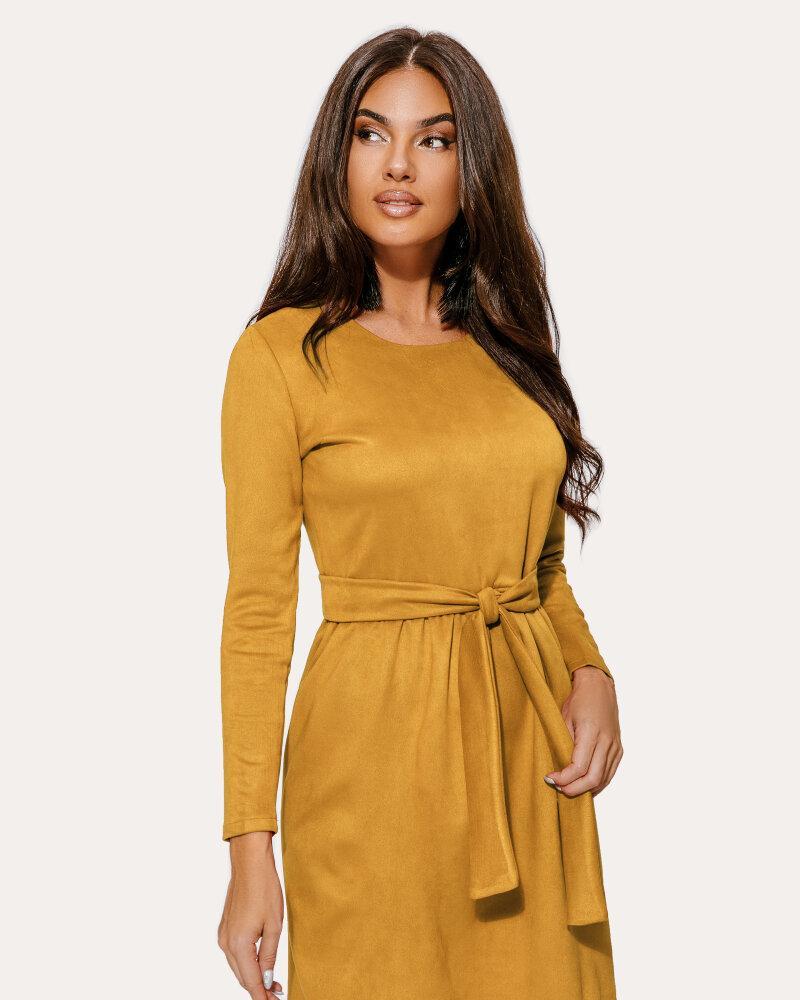 Замшевое платье горчичного цвета фото