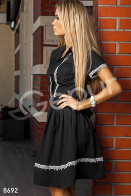 Casual black dress with white lace photo 1