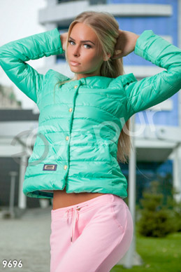 Menthol puffer jacket with buttons-skulls photo 1