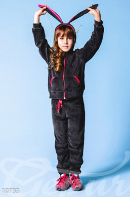 Dark grey velour suit for teenager photo 1