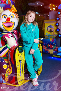 Velour tracksuit for girls turquoise photo 1