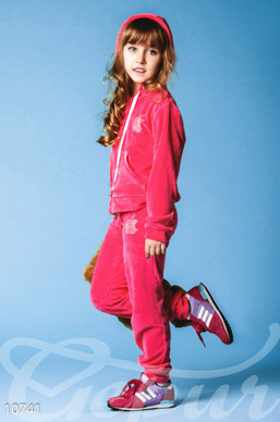 Velour tracksuit for girls pink photo 1