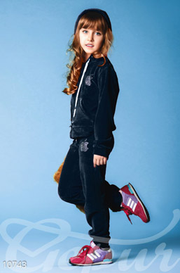 Velour tracksuit for girls blue photo 1