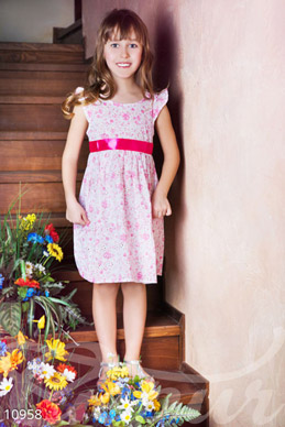 Pink baby dress with flowers photo 1