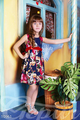 Blue baby dress with flowers photo 1