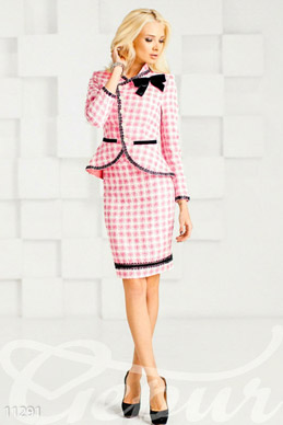 Suit pencil skirt pink with black photo 1