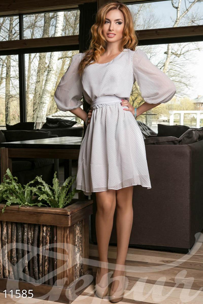 65f3ae4d915 Белое шифоновое платье в мелкий горошек - купить оптом и в розницу ...