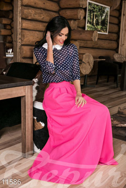 Attractive pink floor-length skirt with a concealed zip photo 1