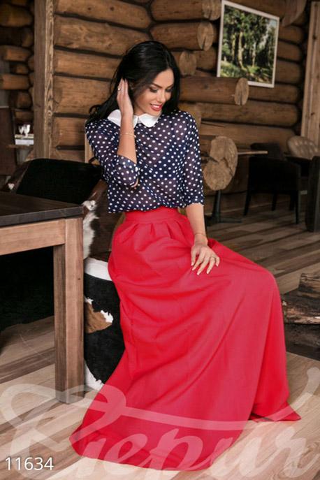 Присобранная красная юбка в пол с кармашками