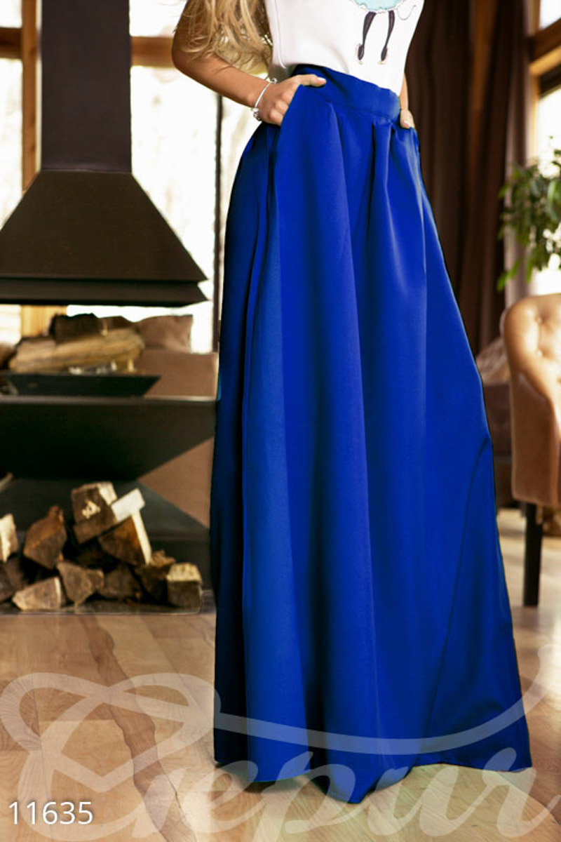 Long skirt with pockets Blue 11635