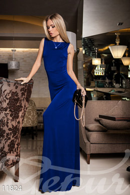 Blue flowing dress photo 1