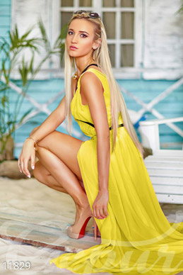 Yellow summer dress with harness photo 1