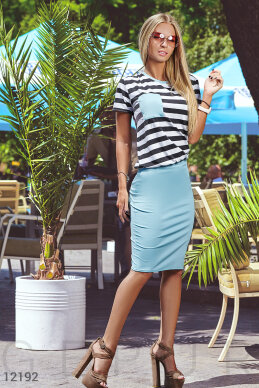 Stylish summer suit with a narrow skirt photo 1