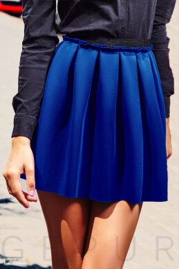 Blue short skirt with a covered elastic waistband photo 1