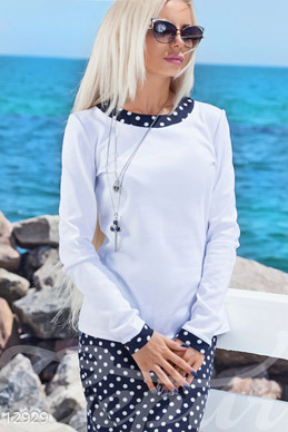 White sweater knit with inlays dot photo 1