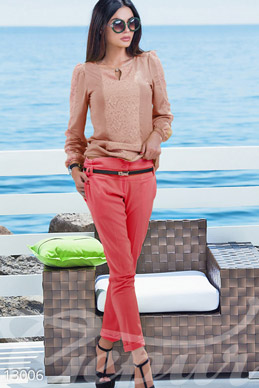 Coral cropped pants from cotton photo 1