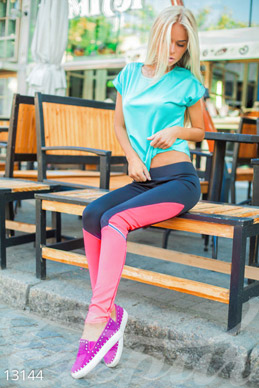 Neon sports leggings with a low rise photo 1