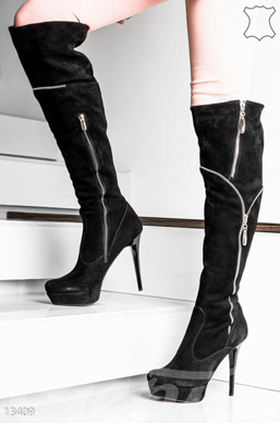 Elegant suede high-heeled boots photo 1