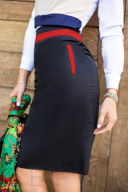 Contrast pencil skirt with inserts photo 1