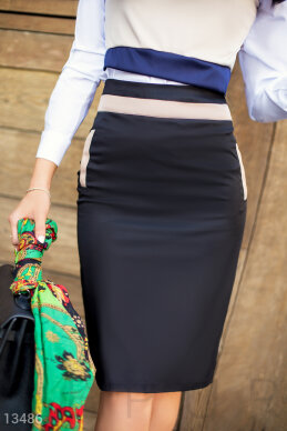 Decorated pencil skirt with a concealed zip photo 1
