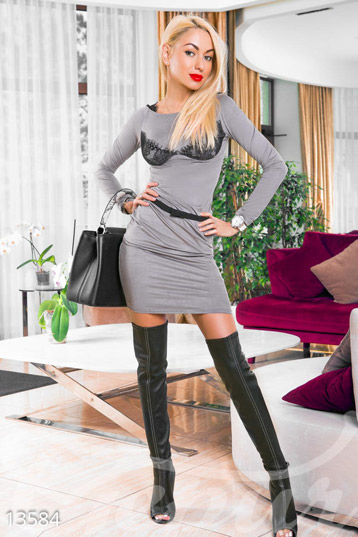 Grey velvet dress with lace photo 1