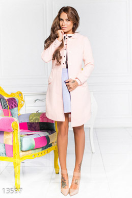 Elegant pink cashmere coat photo 1