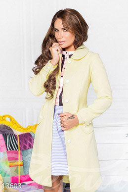 Elegant yellow cashmere coat photo 1