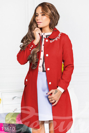 Designer red coat with lace photo 1