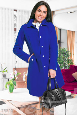 Elegant blue cashmere coat photo 1