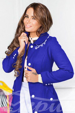 Designer blue coat with lace photo 1