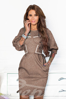 Coffee jacquard dress with lace edging photo 1