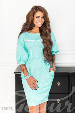 Menthol dress in jacquard with lace edging photo 1
