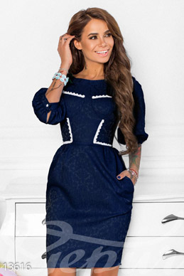 Blue jacquard dress with lace edging photo 1