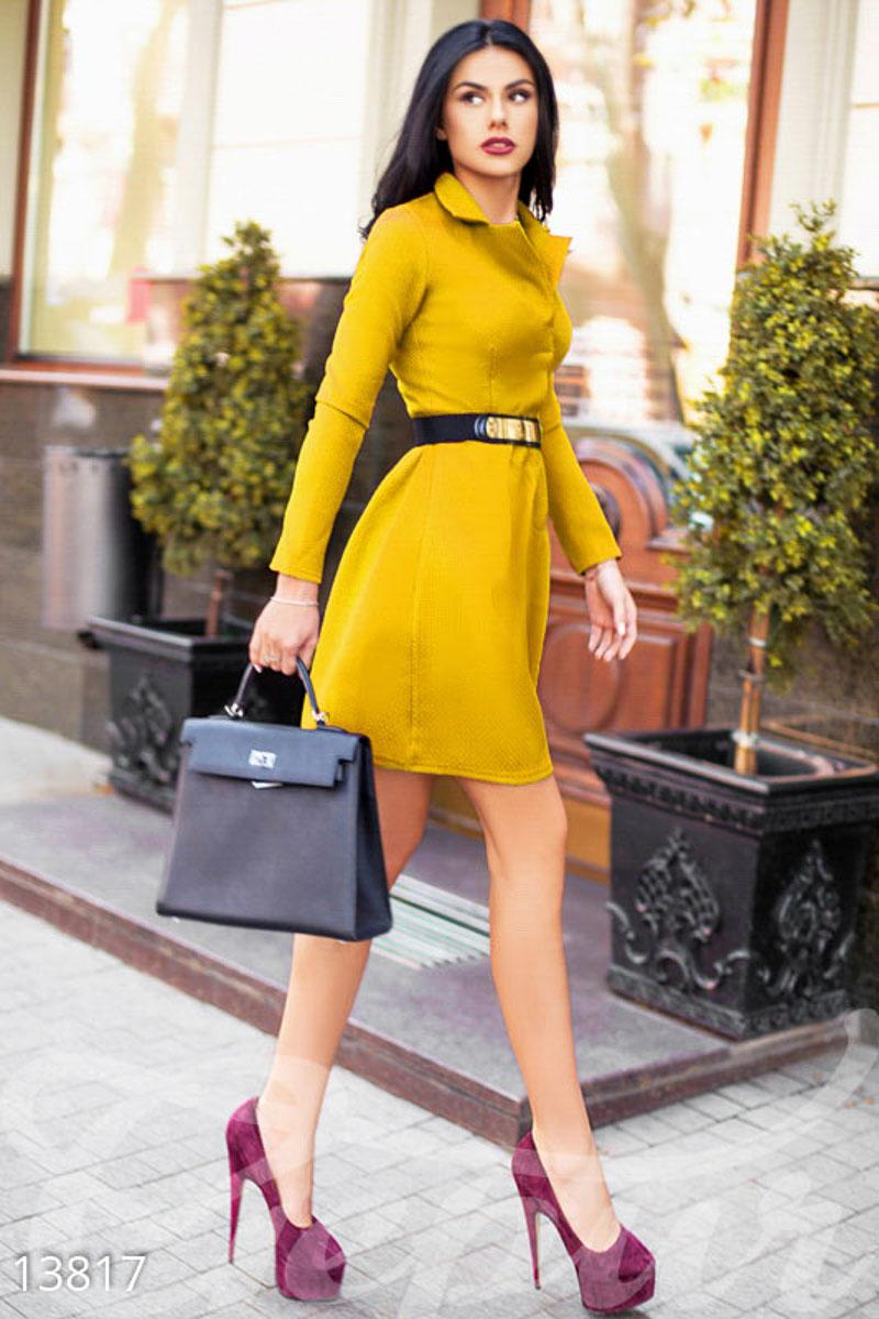 c9cbbe61fd7 Желтое классическое платье А-силуэта - купить оптом и в розницу