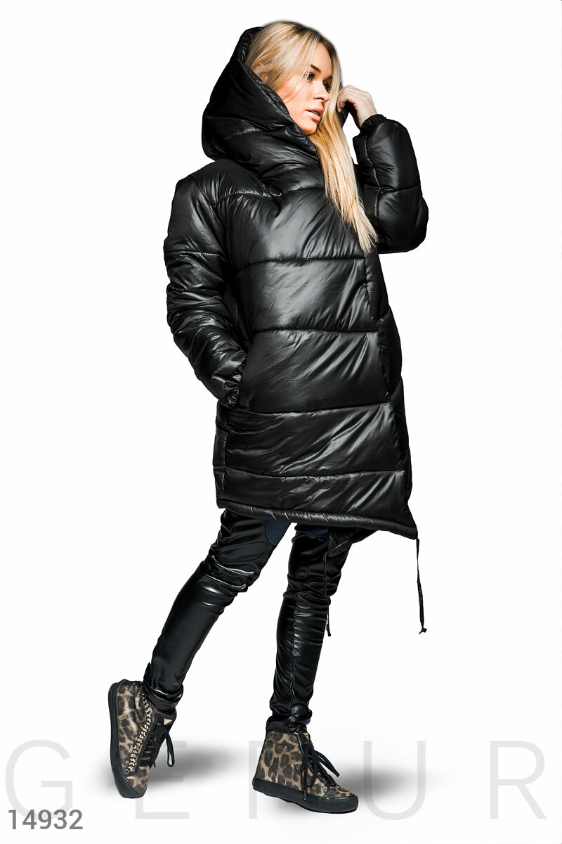Warm quilted coat Black 14932