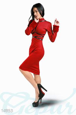 485825c0b4231c5 Платье с портупеей из французского трикотажа - купить оптом и в розницу |  GEPUR, цвет: , цвет: красный, портупея - черный