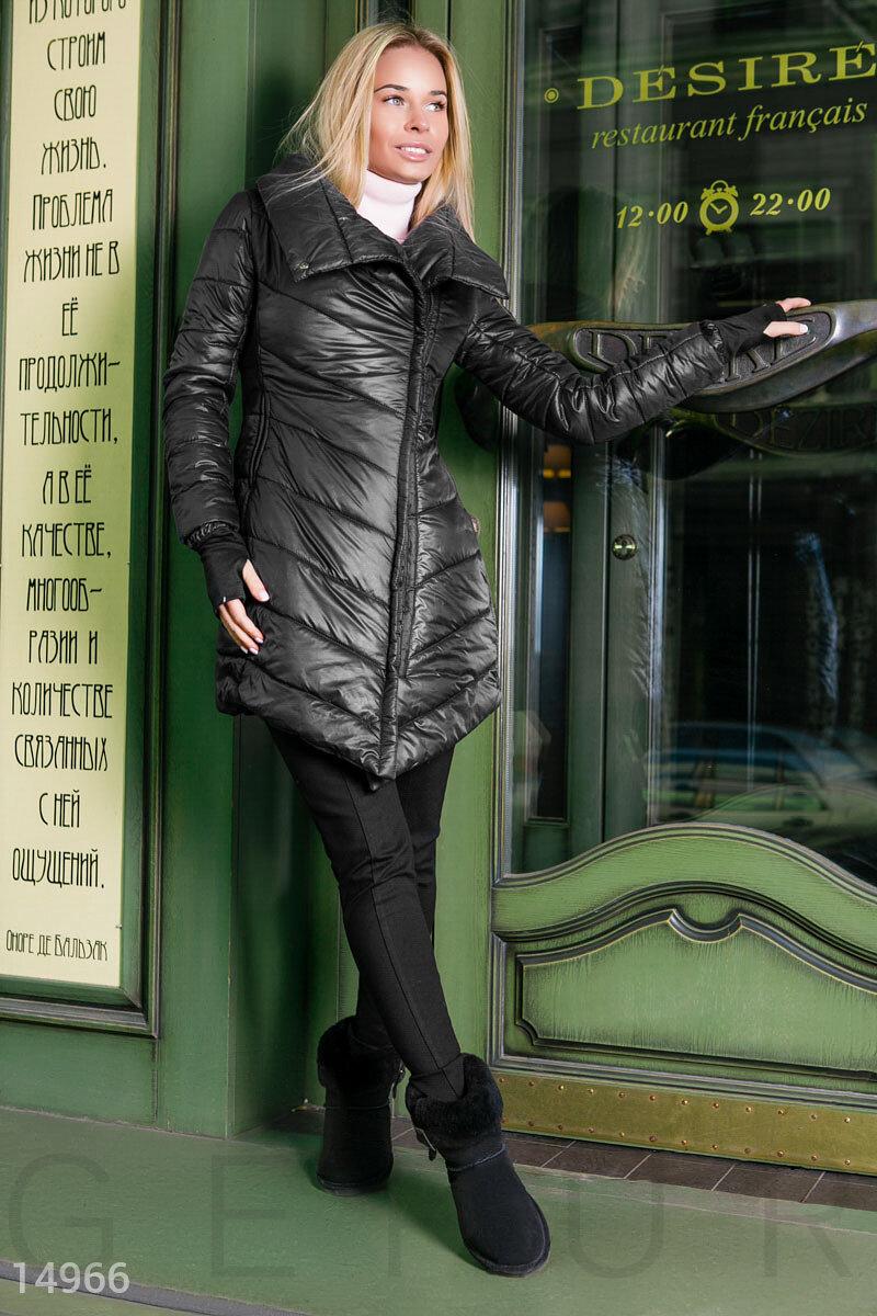 Асимметричное стеганое пальто