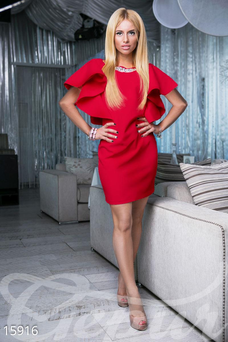 Gepur   Платье с воланами арт. 15916 Цена от производителя, достоверные  описание, отзывы, фото , Цвет  красный 55d45e6e502