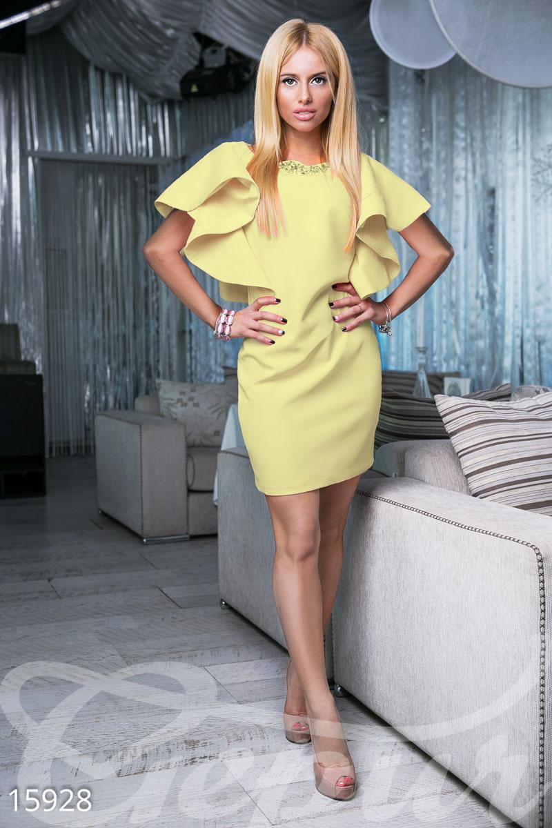 Gepur   Платье с воланами арт. 15928 Цена от производителя, достоверные  описание, отзывы, фото , Цвет  лимонный 22e1ef2348a