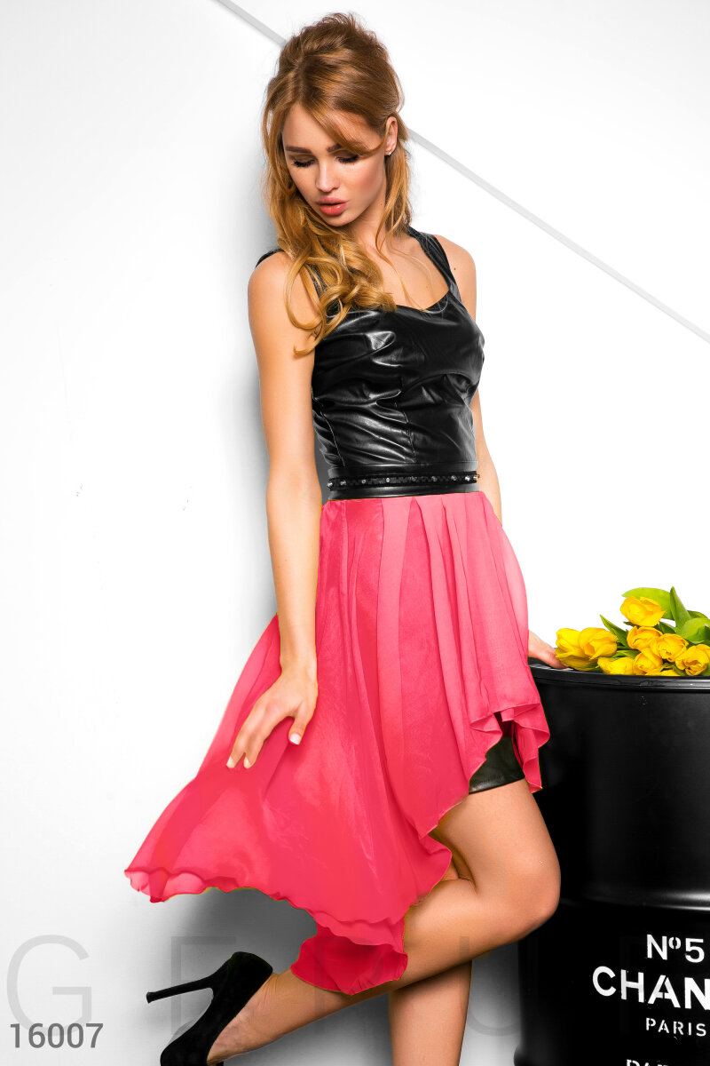 A fitted leather dress Black 16007