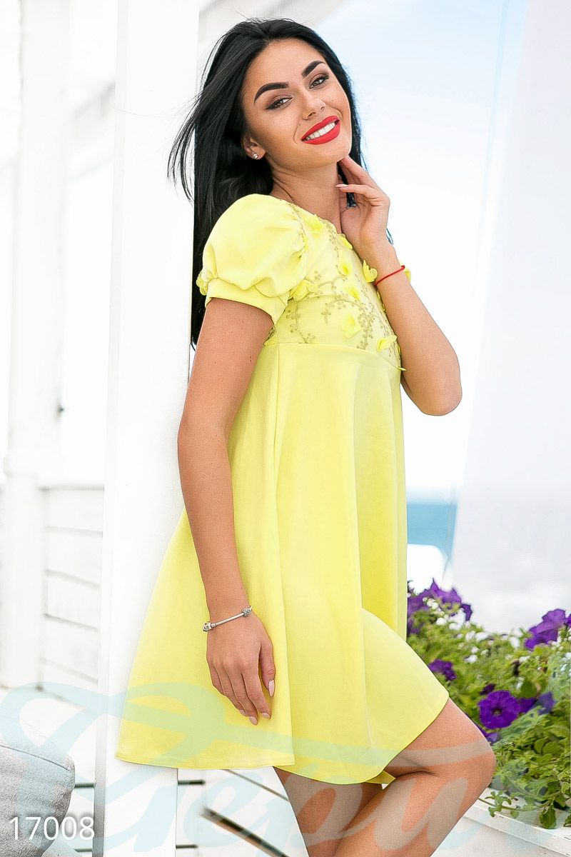Cute summer dress Yellow 17008