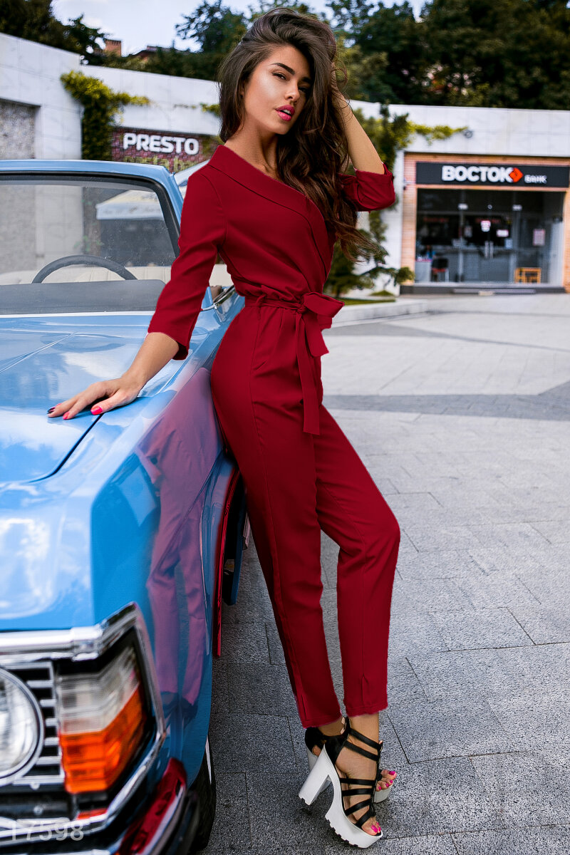 Elegant Trouser jumpsuit Red 17598